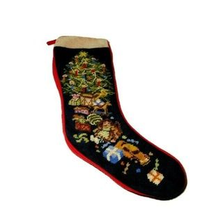 Vtg Needlepoint Christmas Stocking Christmas Tree